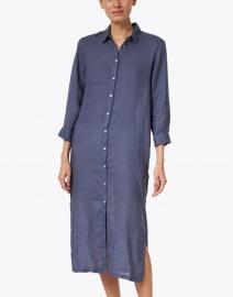 120% Lino - Navy Linen Shirt Dress