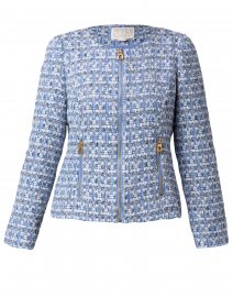 Blue and Silver Tweed Zip Up Jacket