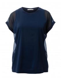 Oana Navy Jersey Top with Chiffon Overlay