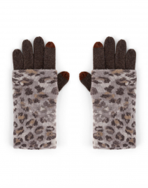 Brown Animal Print Cashmere Knit Glove