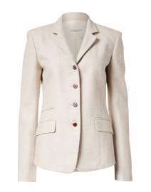 Camille White Cotton Wool and Silk Blazer