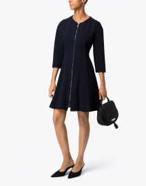 Natan Navy Fit and Flare Dress
