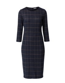 Navy and Pink Check Jersey Dress