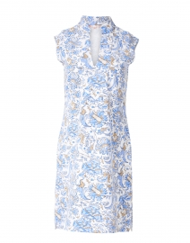 Kristen White and Blue Batik Floral Print Dress