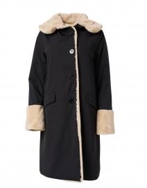 Black Techno Pile Faux Fur Storm Coat