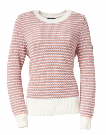 Carson Coral, Blue and White Striped Cotton Sweater