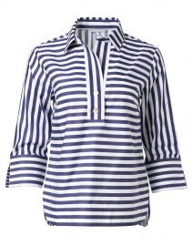 Aileen Navy and White Stripe Cotton Shirt