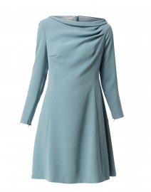 Sage Blue Ruched Neck Dress