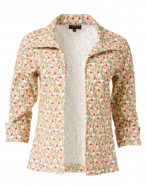 Multicolored Gardenia Floral Crinkle Viscose Jacket