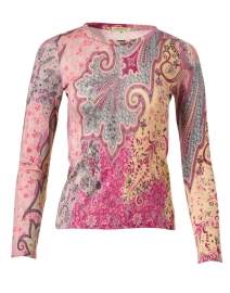 Pink and Beige Paisley Silk Cashmere Sweater