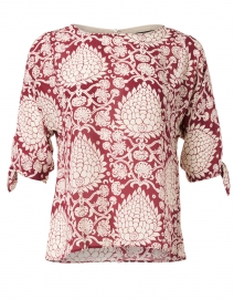 Adone Red and White Leaf Print Silk Top