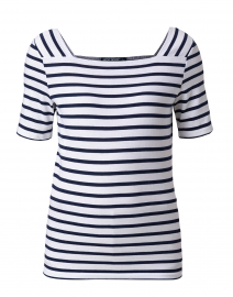 Pleneuf White and Navy Striped Cotton Top