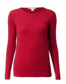 Red Crew Neck Stretch Cotton Top