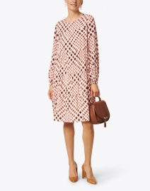 Marc Cain - Pink, Brown, and Ivory Geo Print Dress