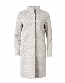 Grey Lurex Jacquard Stretch Cotton Reversible Overcoat