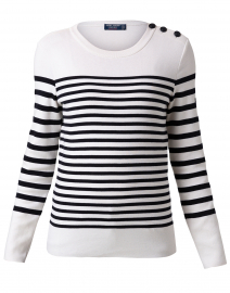 Carros White and Navy Striped Cotton Sweater