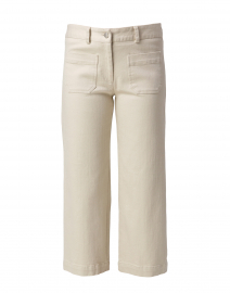 Beige Stretch Denim Cropped Wide Leg Jean