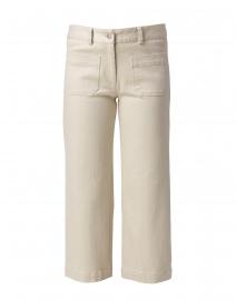 Beige Stretch Denim Cropped Wide Leg Jean