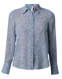 Light Blue Leopard Button Down Blouse