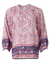 Bell - Courtney Red Floral Cotton and Silk Top