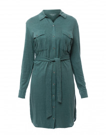 Teal Button Down Stretch Linen Dress