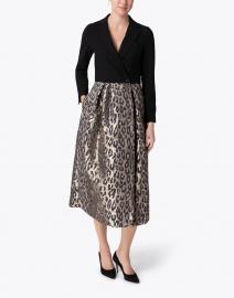Sara Roka - Akiima Black Jersey and Leopard Jacquard Dress