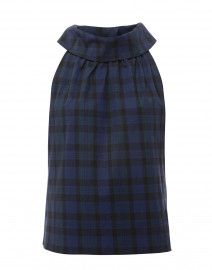 Navy and Green Plaid Stretch Cotton Top