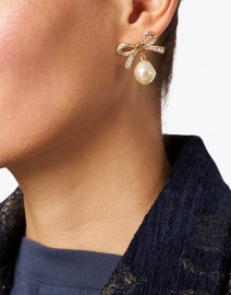 Jennifer Behr - Noelle Antique Gold Pave Bow and Pearl Drop Earrings