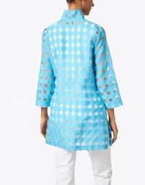 Connie Roberson - Rita Aqua Sheer Plaid Linen Shirt