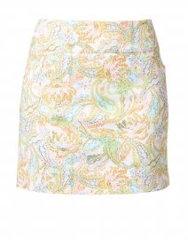 Multicolored Floral Paisley Print Control Stretch Pull-On Skort