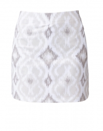 Beige and White Ikat Printed Skort