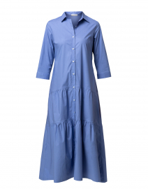 Blue Tiered Button Down Shirt Dress