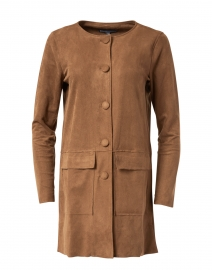 Camel Brown Stretch Faux Suede Jacket