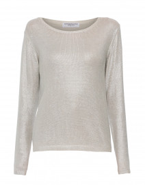 Metallic Silver Silk Sweater