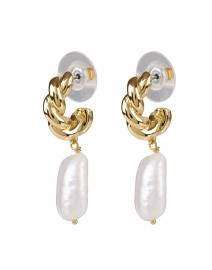 Mira Gold and Pearl Huggie Hoop Earrings