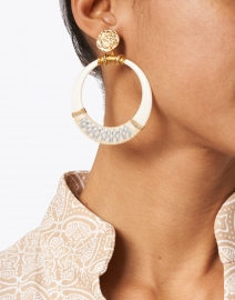 Gas Bijoux - Ivory Resin with Blue Raffia Circle Drop Earring