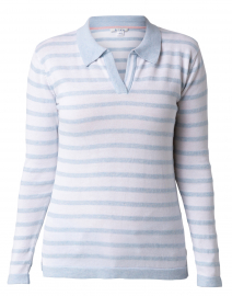 Pale Blue and White Striped Pima Cotton Polo Sweater