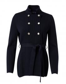 Lannilis Navy Ribbed Wool Cardigan