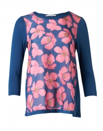 Pink and Navy Floral Printed Cotton Silk Top