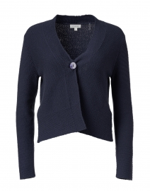 Navy Ribbed Cotton Cardigan