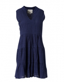 Navy Cotton Eyelet Dress