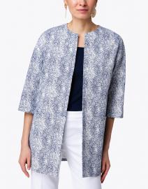 Vilagallo - Sarah Blue Python Printed Topper Coat