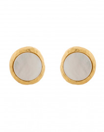 Satin Gold and Mother of Pearl Cabochon Clip-On Earring