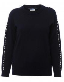 Navy Pearl Embellished Wool Sweater