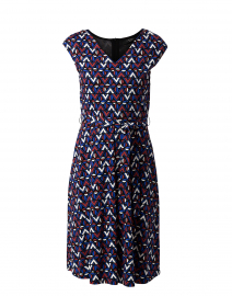 Thomas Red and Blue Geometric Printed Cotton Dress