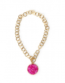 Magenta Agate and Gold Hammered Chain Pendant Necklace