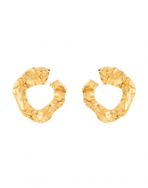 Gold Crinkled Metal Hoop Earring