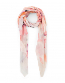 Andar Pink Floral Print Modal and Cotton Scarf