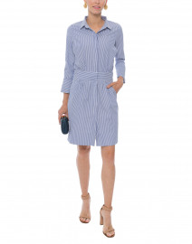Breezy Blouson Navy and White Striped Shirt Dress