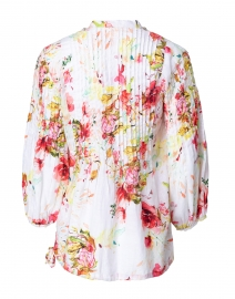 120% Lino - Pink and White Floral Print Pintucked Linen Shirt